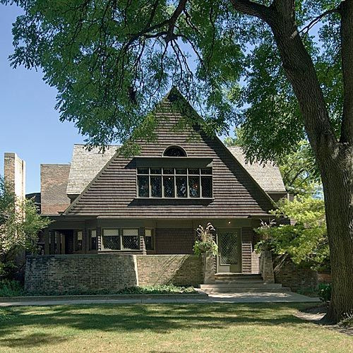 Zicht op het huis van Frank Lloyd Wright