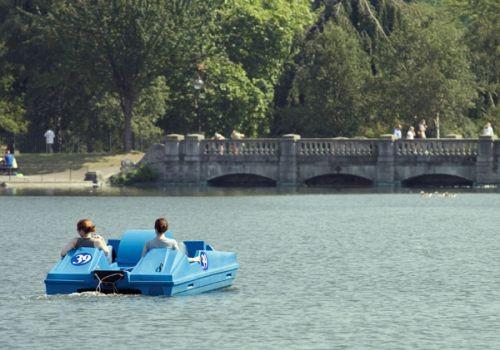 Waterfietsers in Hyde Park