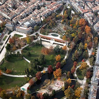 Luchtbeeld van de Jardin Public