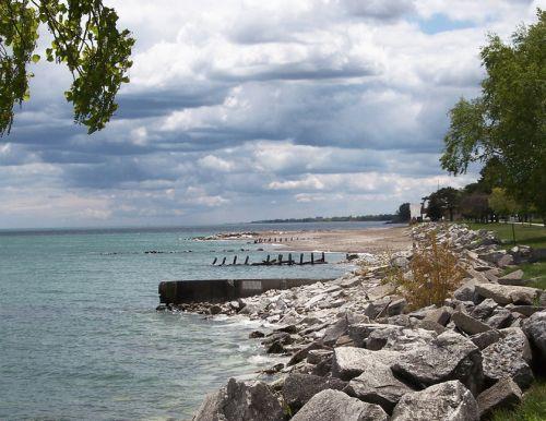 Zicht op Lake Michigan