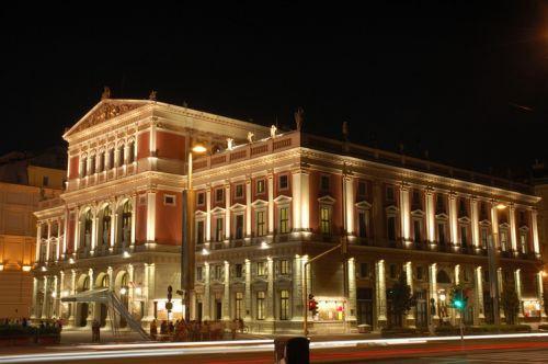 Nachtbeeld van de Musikverein