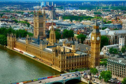 Luchtbeeld op het Palace of Westminster