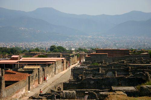 Luchtbeeld op Pompeï