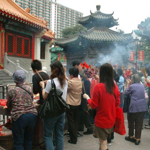 Mensen voor de Wong Tai Sin Tempel