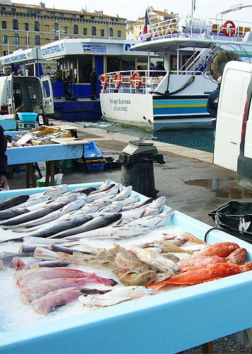 Beeld van de Vismarkt van Marseille