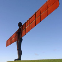 Zijaanzicht op de Angel of the North