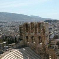 Detail van het Theater van Herodes Atticus