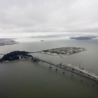 Luchtbeeld van de Oakland Bay Bridge