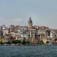 Zicht op Beyoglu en Galata
