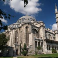 Zijaanzicht van de Blauwe Moskee