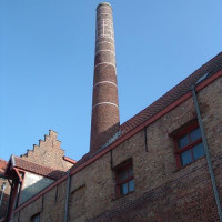 Schoorsteen van het Brugs Mouterij- en Brouwerijmuseum