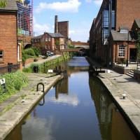 Kanaal in het Castlefield Urban Heritage Park