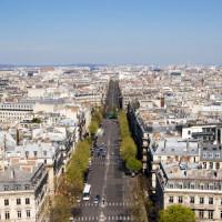 De lengte van de Champs-Elysées