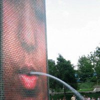 Detail van de Crown Fountain