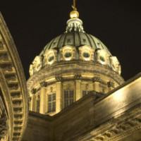 Nachtbeeld van de Kazankathedraal