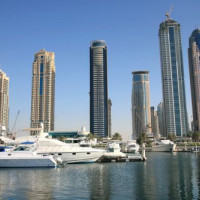 Wolkenkrabbers in de Dubai Marina