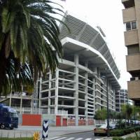 Buiten het stadion in Valencia