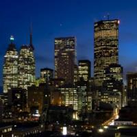 Nachtbeeld van het Financial District