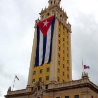 Cubaanse vlag aan de Freedom Tower