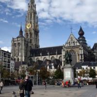 Zicht op de Antwerpse Kathedraal
