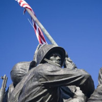 Close up van het Iwo Jima Memorial