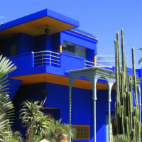 Blauw gebouw in Marrakech