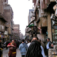 Straatbeeld op de Khan el-Khalili