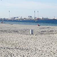 Zicht op een strand van Kopenhagen