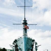Vooraanzicht van de Kruiser Aurora