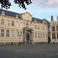 Zicht op het Landhuis van het Brugse Vrije