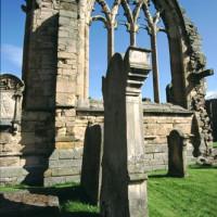 Beeld van de ruïnes van Melrose Abbey