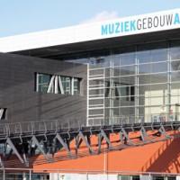 Binnenzicht op Amsterdams muziekgebouw aan't IJ