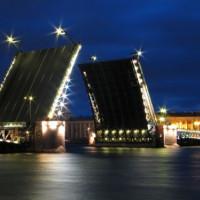 Nachtbeeld op de Paleisbrug