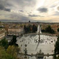 Panorama op het Piazza del Popolo