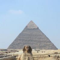 Sfinx voor de piramide van Chefren