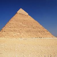 Zicht op de Piramide van Chefren