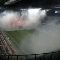 Rookwolken in het San Siro-stadion
