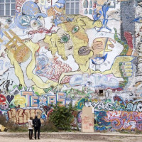 Beschilderde muur van het Kunsthaus Tacheles