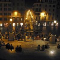 Nachtbeeld op het Piazza di Spagna
