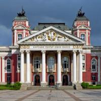 Voorgevel van een theater in Sofia