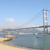 Dieptebeeld van de Tsing Ma Bridge