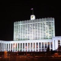Nachtbeeld van het Witte Huis van Rusland